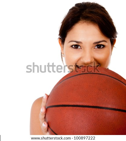 Female basketball player with a ball - isolated over a white background