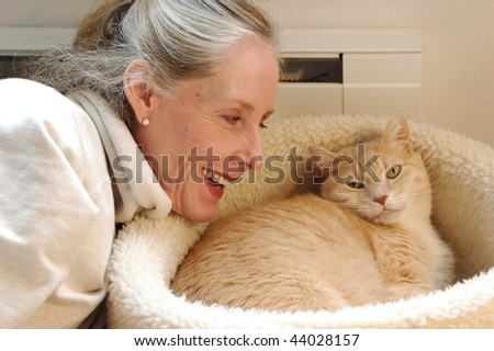 Female beauty and her cat.