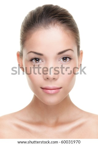 Female beauty portrait. Face closeup of stunning beautiful mixed Chinese Asian / Caucasian woman. Isolated on white background. - stock photo