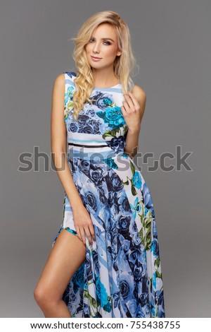 Female blond model wear flower dress
