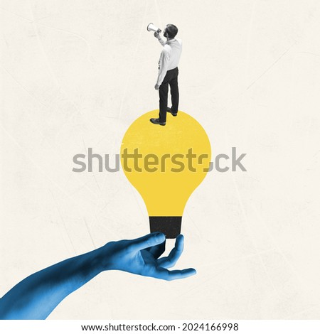 Female blue hand holding yellow bulb as idea symbol with young man, office worker isolated on light background. Contemporary art collage. Inspiration, idea. Concept of occupation, business, ad.