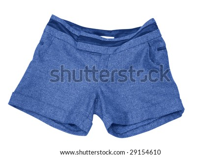 female blue shorts isolated on white (contains clipping path) #29154610
