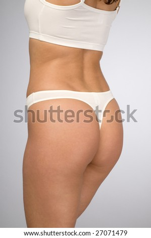 female body in a white underwear