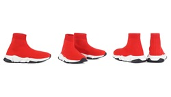 Female boots red color isolated on white. women's shoes