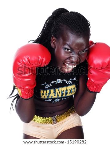 female boxer isolated on white
