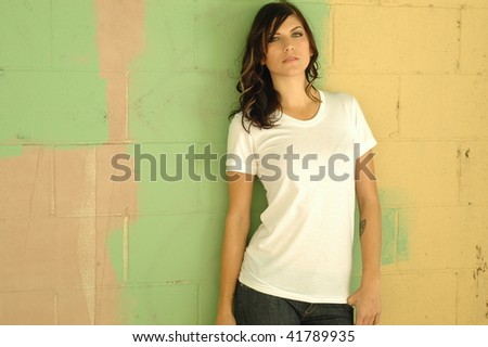 female brunette fashion model in casual clothes