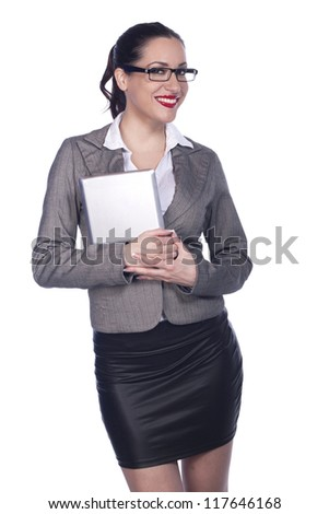 Female Business Professional Using Digital Tablet - Isolated