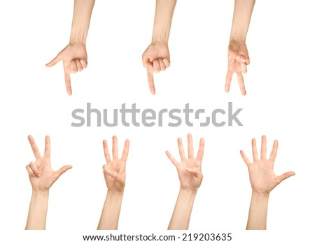 Female caucasian hand number gestures, one to five, isolated over the white background, set of six images #219203635
