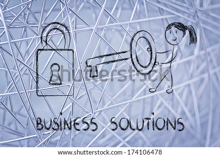 female character showing how to find the best business solution
