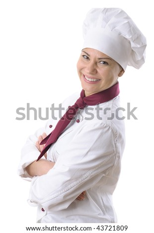 female chef isolated over white