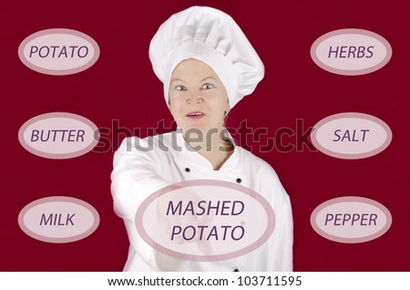 female chef shows on a screen how to make mashed potato