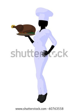 Female chef with a turkey dinner silhouette on a white background