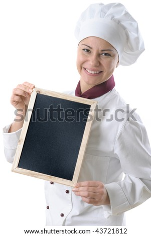 female chef with menu blackboard isolated over white