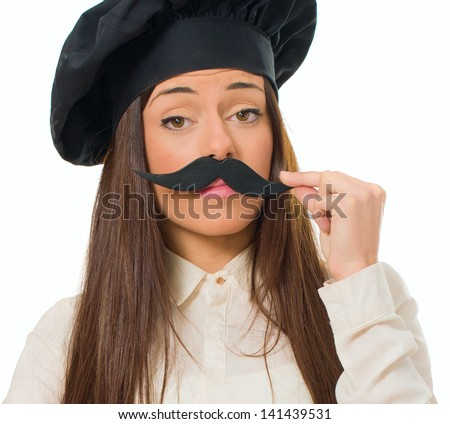 Female Chef With Mustache Isolated Over White Background