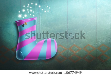 Female Christmas Stocking Hung on Wall with Spotlight. Magical Holidays Illustration.