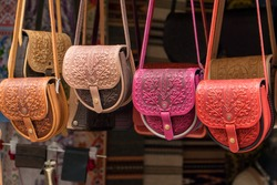 Female color embossed leather bags with carpathian pattern. Bags and accessories