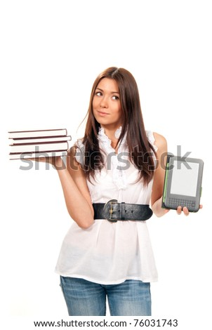 Female compare books and new wireless reading digital book Device. She holds books and ebook reader in hands like balance isolated over white background