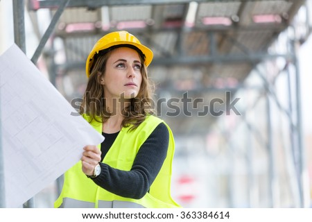 Female construction site engineer