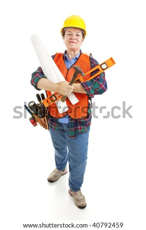 Female contractor with her tools, ready to go to work on a construction project.  Isolated.