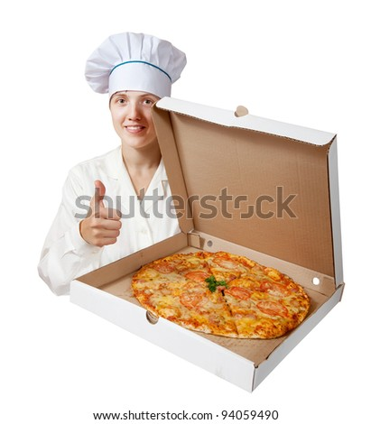 female cook with cooked pizza. Isolated over white background