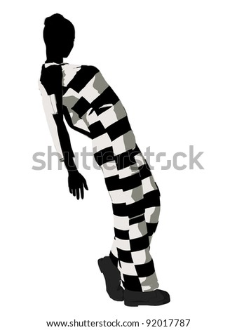 Female criminal on a white background