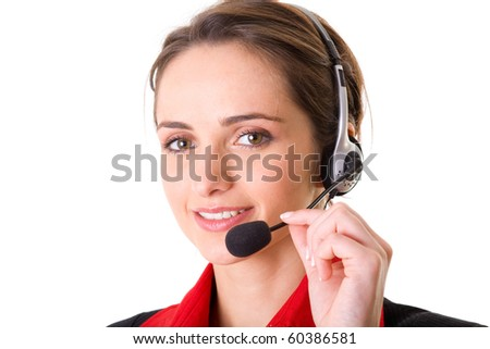 female customer service operator, help desk support, red shirt and black jacket, studio shoot isolated on white