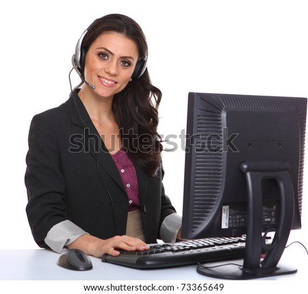 Female customer service representative smiling, isolated on white