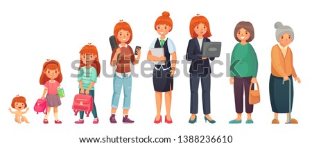 Female different ages. Baby, young girl, adult european women and aged grandma. Woman generations growth stage. Females growing character isolated cartoon  illustration