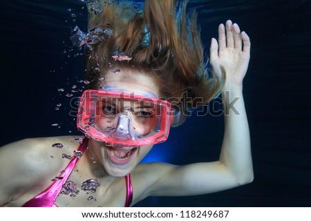 Female diver screaming