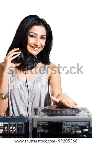 Female dj female rock star playing music stock photo