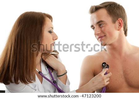 Female doctor and the male patient on a white background. - stock ...