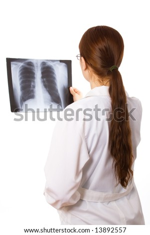 Female doctor examining a thorax x ray