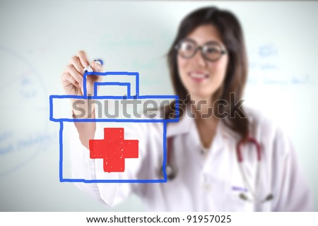 female doctor, female doctor drawing first aid bag graphic.