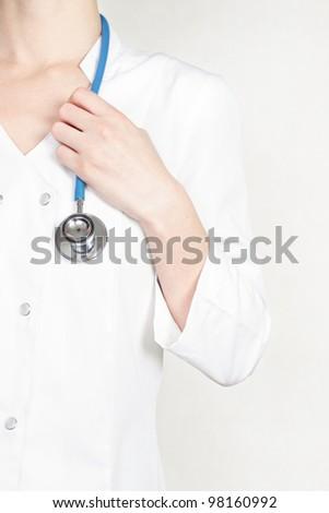 Female doctor hold stethoscope