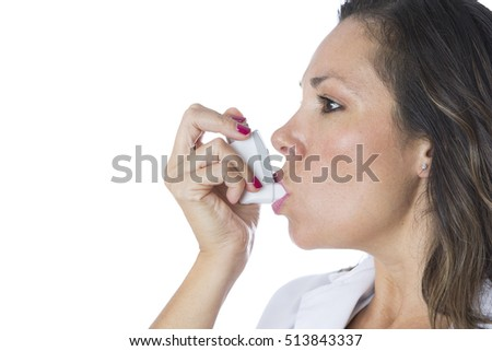 Female doctor is using a pressurized cartridge inhaler on a medical demostration - Isolated on a white background - Copy space area available  Imagine de stoc ©