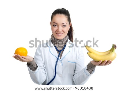 Female doctor isolated over a white background