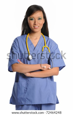 Female doctor or nurse smiling with arms crossed isolated over white background