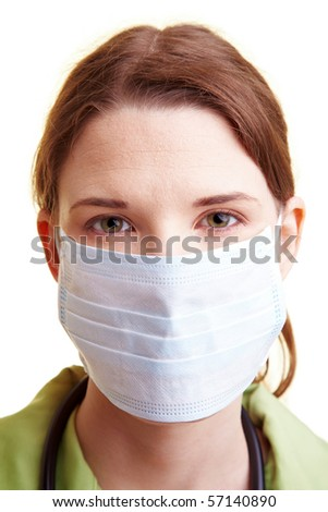 Female doctor with a breathing mask over the mouth