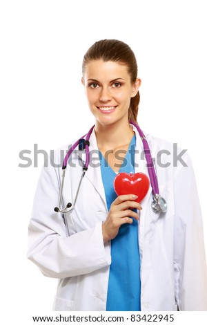Female doctor with heart, close-up, isolated on white background