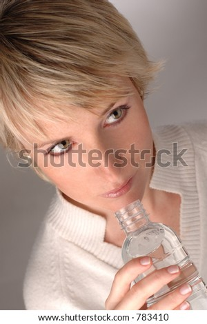 female drinking water