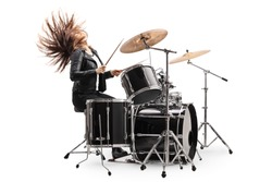 Female drummer playing the drums and throwing hair back isolated on white background