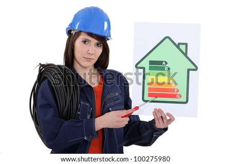 Female electrician holding screwdriver and energy information poster