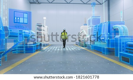 Female Engineer Walks Through Factory Workshop with Augmented Reality 3D Models CNC Machinery Production Line. Industry 4.0 Graphics Visualization in Factory. VFX Special Graphics and Visual Effects