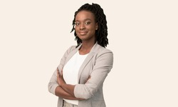 Female Entrepreneurship. Afro Businesswoman Smiling At Camera Crossing Hands Posing On White Studio Background. Free Space