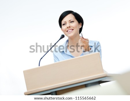 Female executive at the board. Business conference