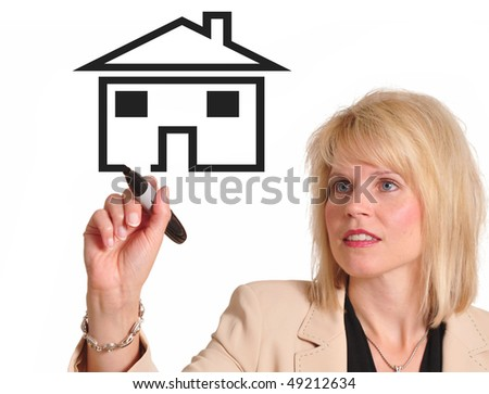 Female executive drawing image of a house. Great for real estate advertising