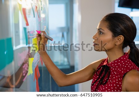 Female executive writing on glass board with a marker in office