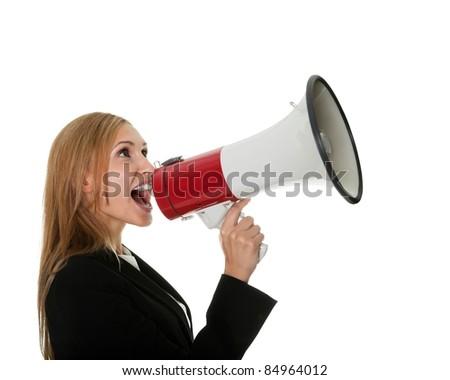 Female executive yelling through a megaphone
