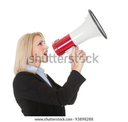 Female executive yelling through a megaphone. Isolated on white