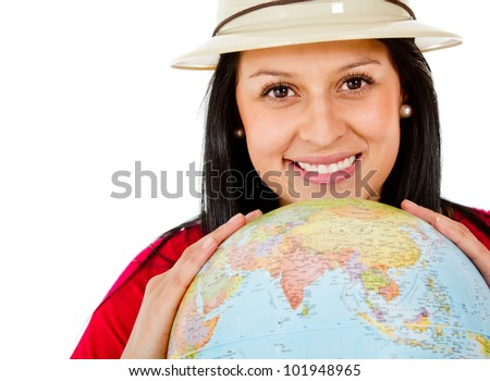 Female explorer with the globe in her hands - isolated
